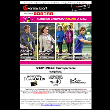 Advertisements and promotions for Forum Sport.